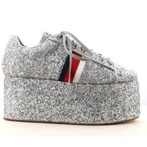 Cape Robbin sparkle silver platform sneakers